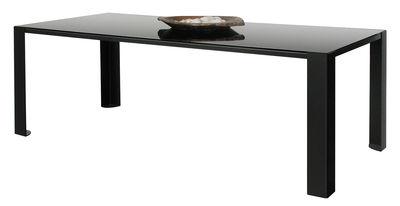 Arredamento - Tavoli - Tavolo rettangolare Big Irony Black Glass - Piano in vetro nero di Zeus - Piano in vetro nero  - 90 x 200 cm - Acciaio verniciato, Vetro