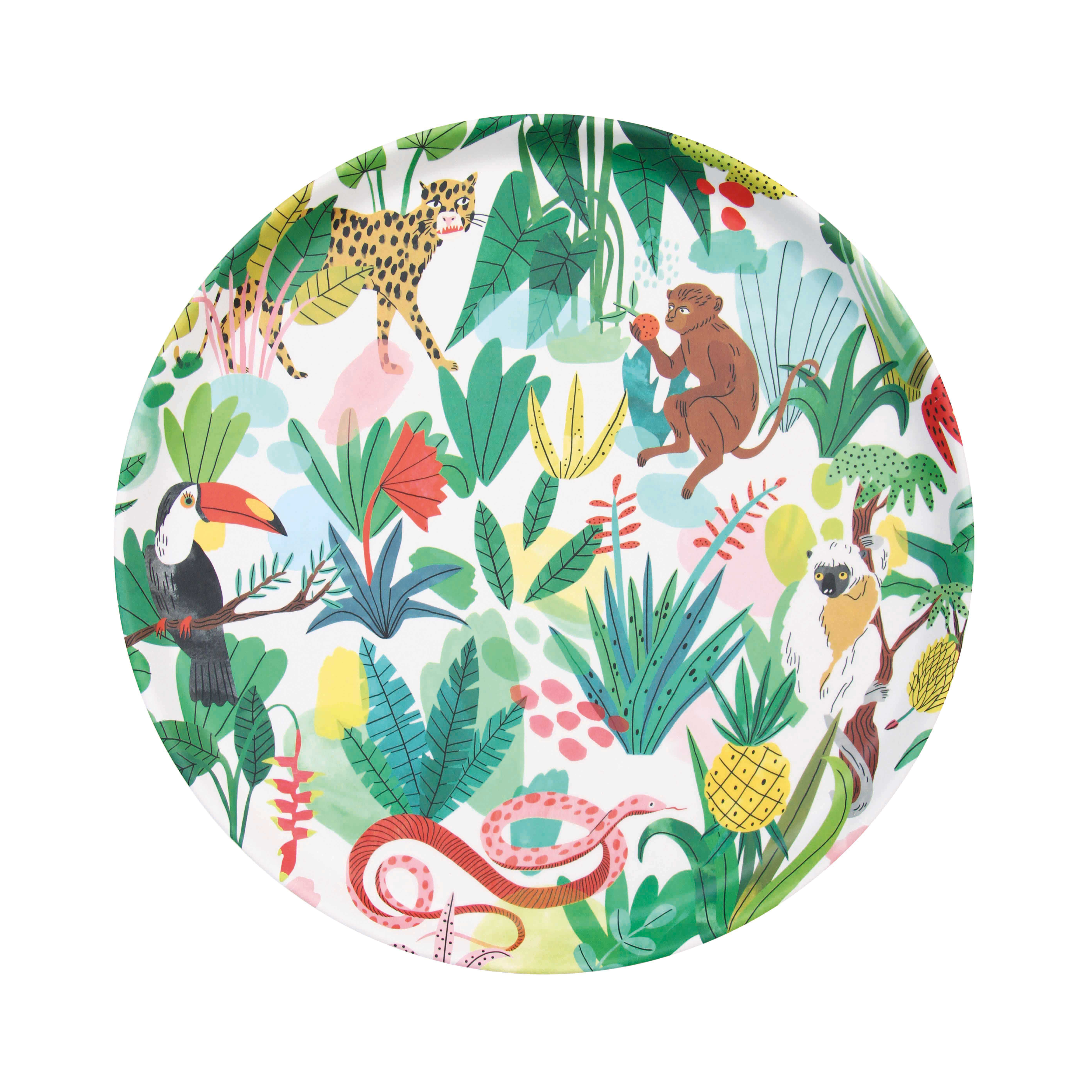 Tableware - Trays - Bodil Tray - / Ø 32 cm / Bamboo by & klevering - Tropical jungle - Bamboo fibre