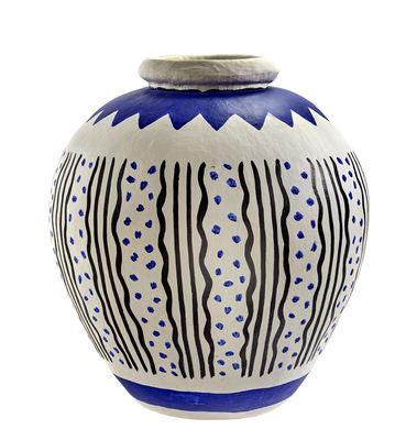 Decoration - Vases - Milieux de vos tables Vase - / Papier peint main by Serax - Bleu / Blanc / Noir - Papier maché