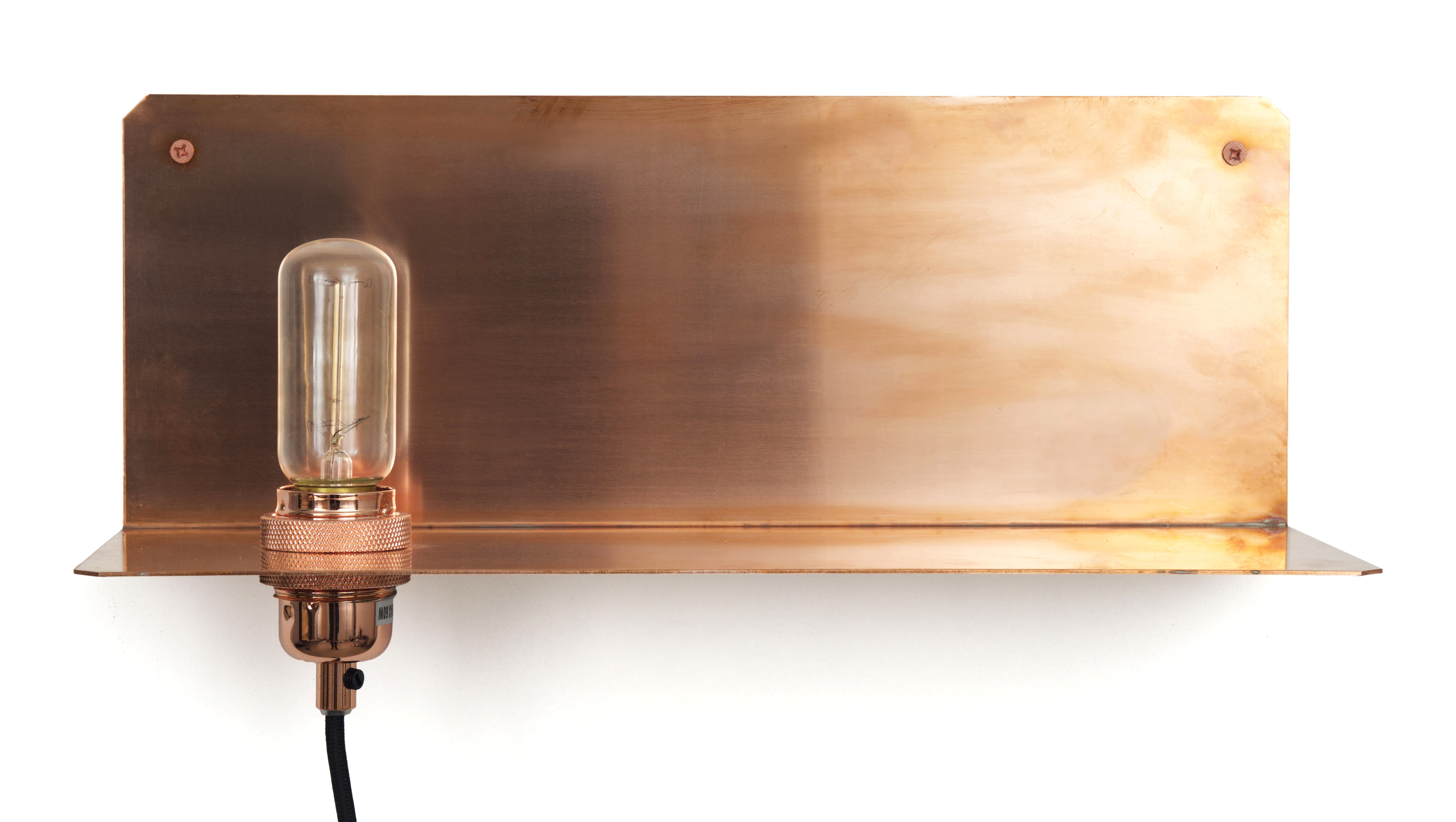 Furniture - Bookcases & Bookshelves - 90° Wall light with plug - Shelf by Frama  - Copper - Solid copper