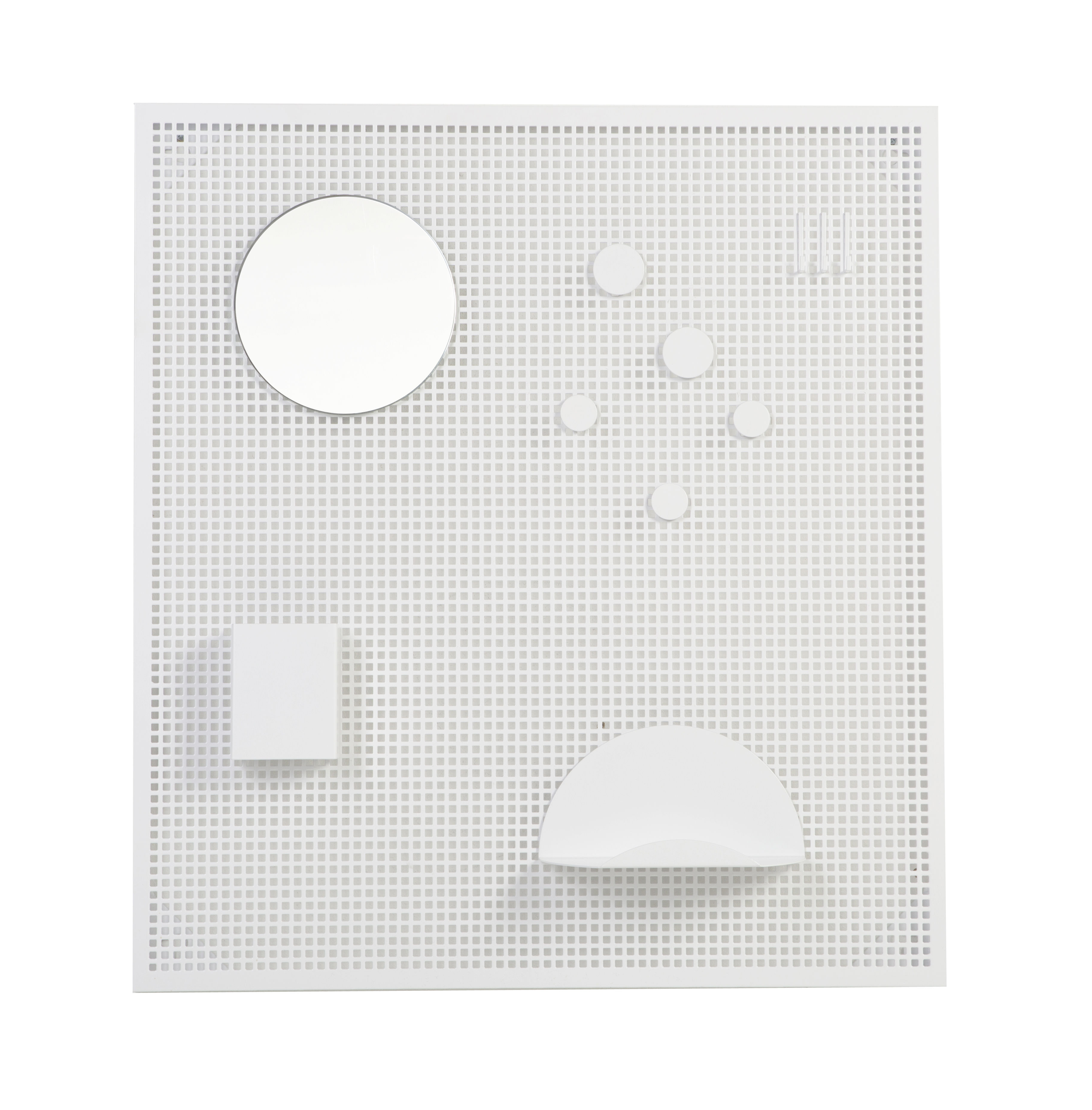 Decoration - Children's Home Accessories - Wall organisers - With 5 accessories - Magnetic by OK Design pour Sentou Edition - White - Perforated metal