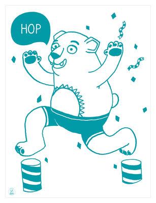 Affiche Grizzly / Phosphorescente - 30 x 40 cm - OMY Design & Play blanc,bleu canard en papier
