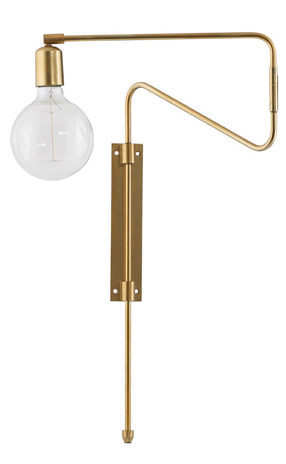 Luminaire - Appliques - Applique avec prise Swing / Métal - Bras pivotant - House Doctor - Laiton - Fer plaqué laiton