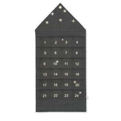 Déco - Mémos, ardoises & calendriers - Calendrier de l'avent Star / Tissu - 24 jours / L 50 x H 100 cm - Ferm Living - Vert  foncé - Coton
