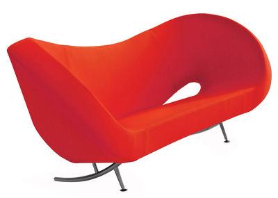 Mobilier - Canapés - Canapé droit Victoria and Albert / Modèle 1 - L 205 cm - Moroso - Tissu rouge - Acier chromé