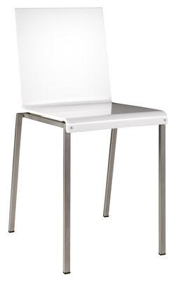 Chaise Bianca / Résine brillante & pieds métal - Zeus acier,blanc brillant en matière plastique
