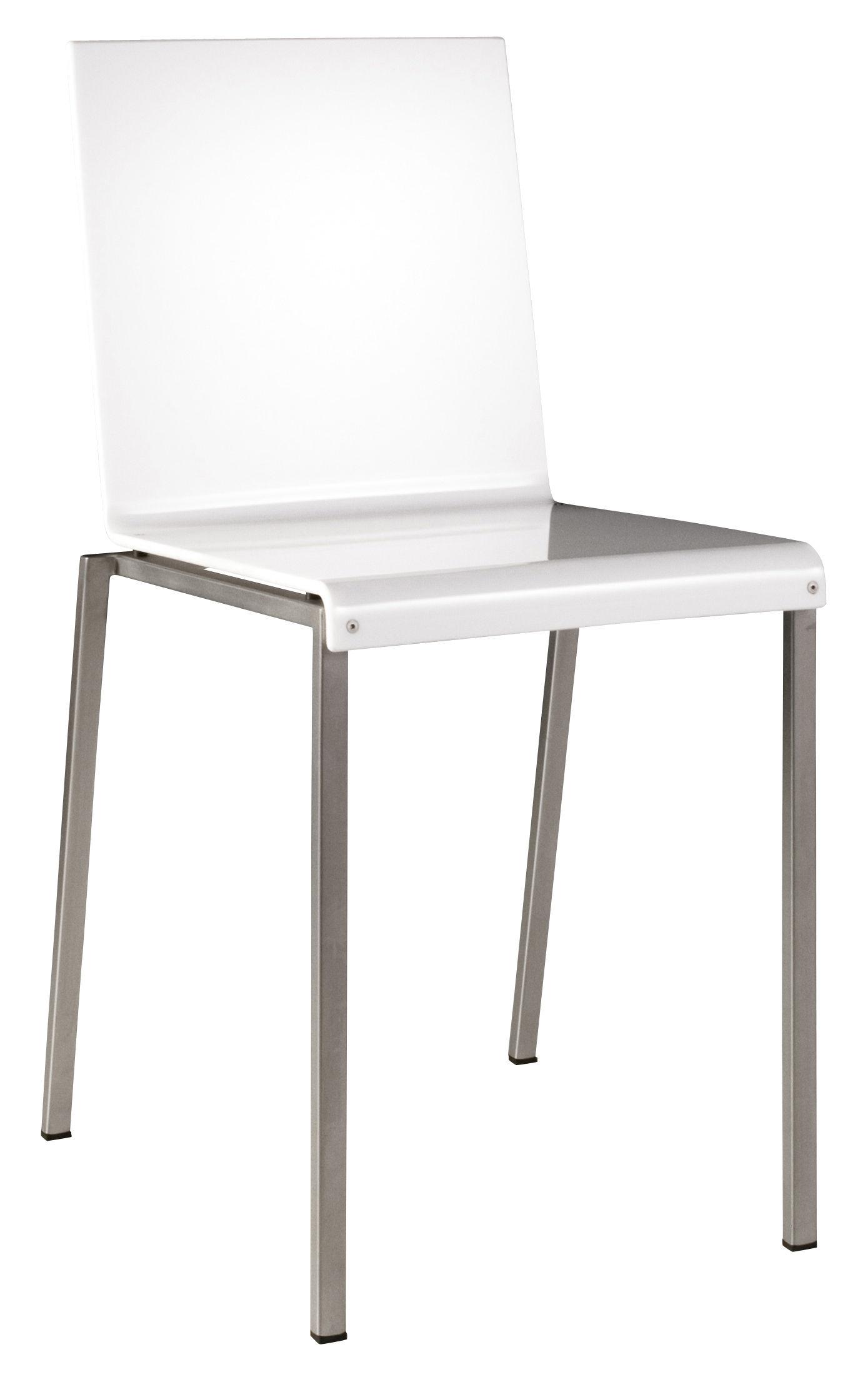 Mobilier - Chaises, fauteuils de salle à manger - Chaise Bianca / Résine brillante & pieds métal - Zeus - Blanc brillant / Pieds acier - Acier sablé, Résine acrylique