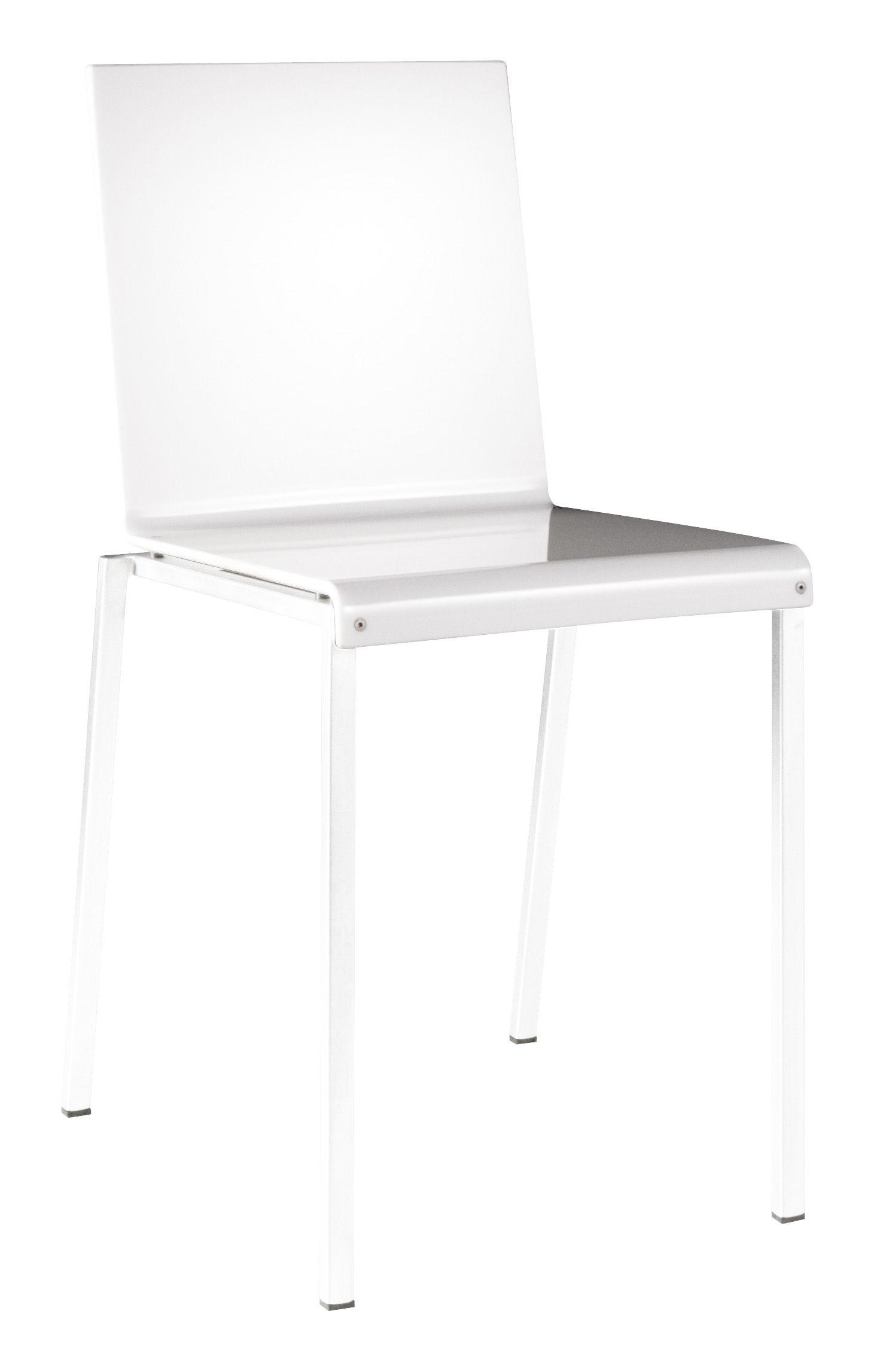 Mobilier - Chaises, fauteuils de salle à manger - Chaise Bianca / Résine brillante & pieds métal - Zeus - Blanc brillant / Pieds blancs - Acier, Résine acrylique