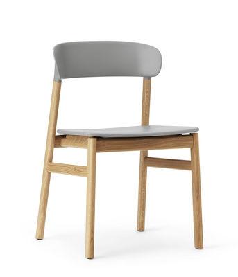 Chaise Herit / Pied chêne - Normann Copenhagen gris,chêne en matière plastique
