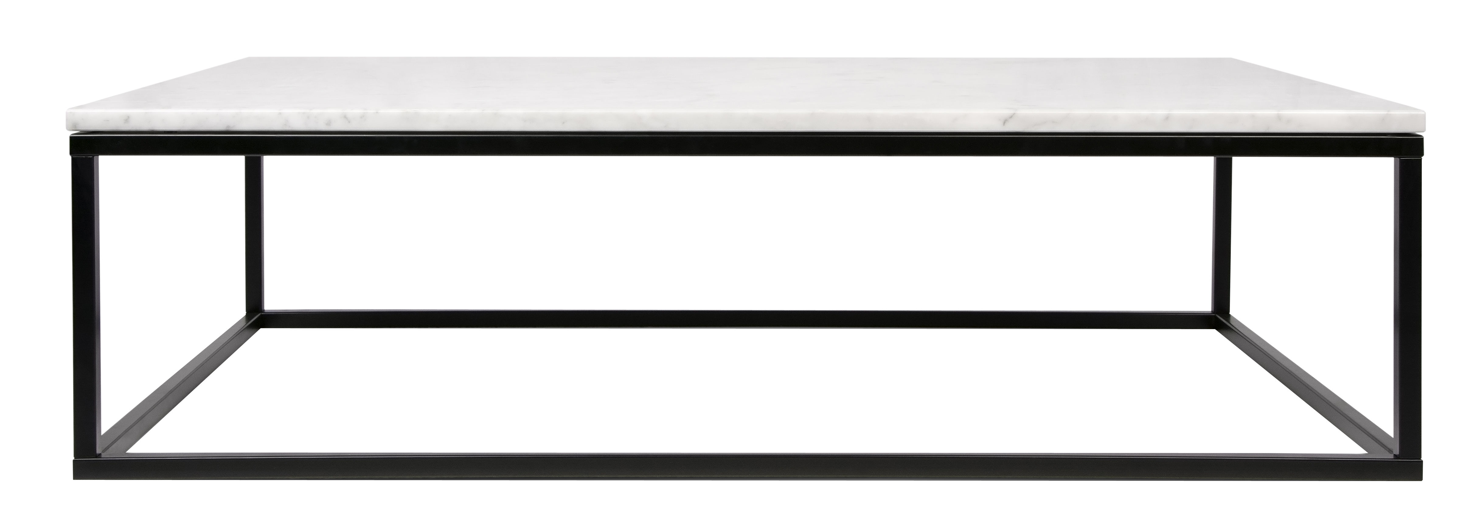 Furniture - Coffee Tables - Prairie Coffee table - / Marble - 120 x 75 cm by POP UP HOME - White marble / Black leg - Lacquered steel, Marble