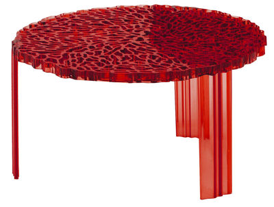 Furniture - Coffee Tables - T-Table Basso Coffee table - H 28 cm by Kartell - Clear red - PMMA
