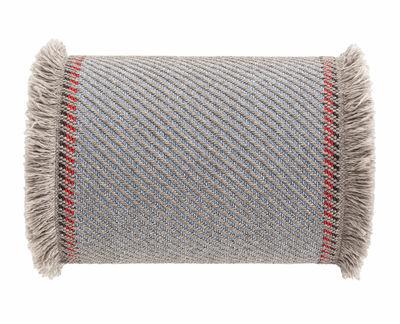 Decoration - Cushions & Poufs - Garden Layers Cushion - / Large roll - Handwoven by Gan - Diagonals / Blue & almond - Caoutchouc mousse, Polypropylene