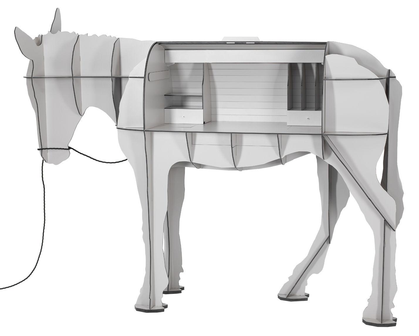 Furniture - Kids Furniture - Maturin Desk - LED - L 200 cm by Ibride - Grey - Solid stratified layers
