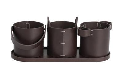Accessories - Desk & Office Accessories - Buckets Desk organizer - / Leather by Fritz Hansen - Dark brown - Leather