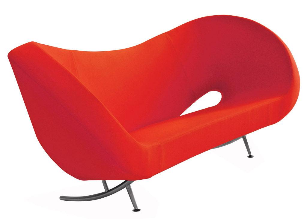 Arredamento - Divani moderni - Divano destro Victoria and Albert - Modello 1 di Moroso - Tessuto rosso - Acciaio cromato