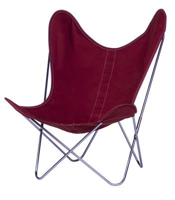 Chaise AA Butterfly INDOOR / Coton - Structure chromée - AA-New Design rose/rouge en tissu
