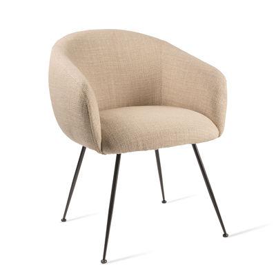 Mobilier - Chaises, fauteuils de salle à manger - Fauteuil rembourré Buddy / Tissu & métal - Pols Potten - Beige - Métal, Mousse, Tissu polyester