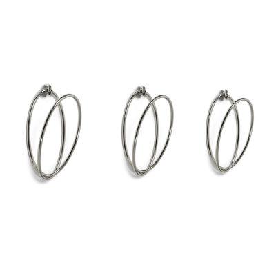 Möbel - Garderoben und Kleiderhaken - Senzatempo Garderobe / Wandbefestigung - 3 Ringe / L 77 cm - Opinion Ciatti - Verchromt - verchromter Stahl