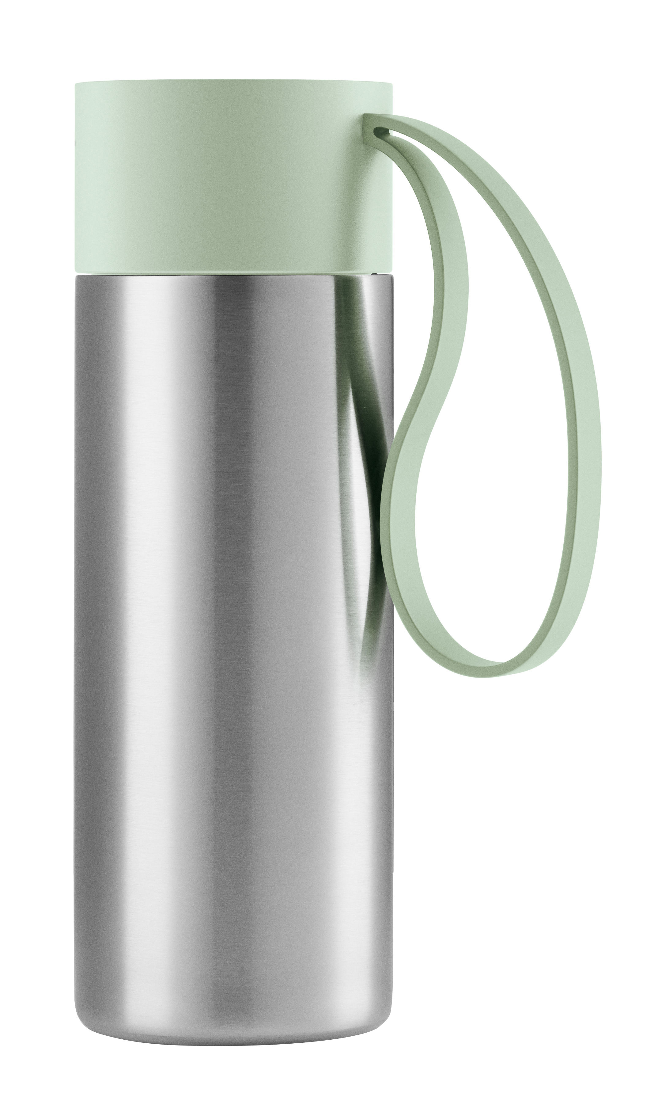 Tableware - Coffee Mugs & Tea Cups - To Go Cup Insulated mug - / With lid - 0.35 L by Eva Solo - Eucalyptus green / Steel - Silicone, Stainless steel