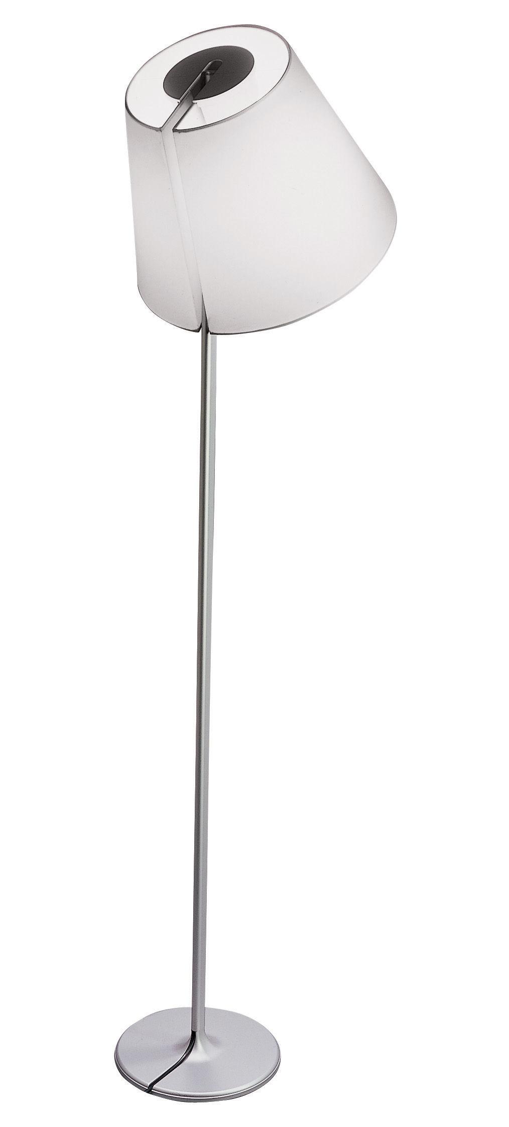 Illuminazione - Lampade da terra - Lampada a stelo Melampo Terra di Artemide - Grigio alluminio - Alluminio, Tessuto