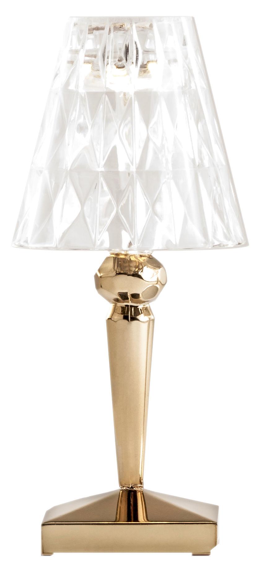 Leuchten - Tischleuchten - Battery LED Lampe ohne Kabel / mit USB-Ladeport - Kartell - Goldfarben - PMMA