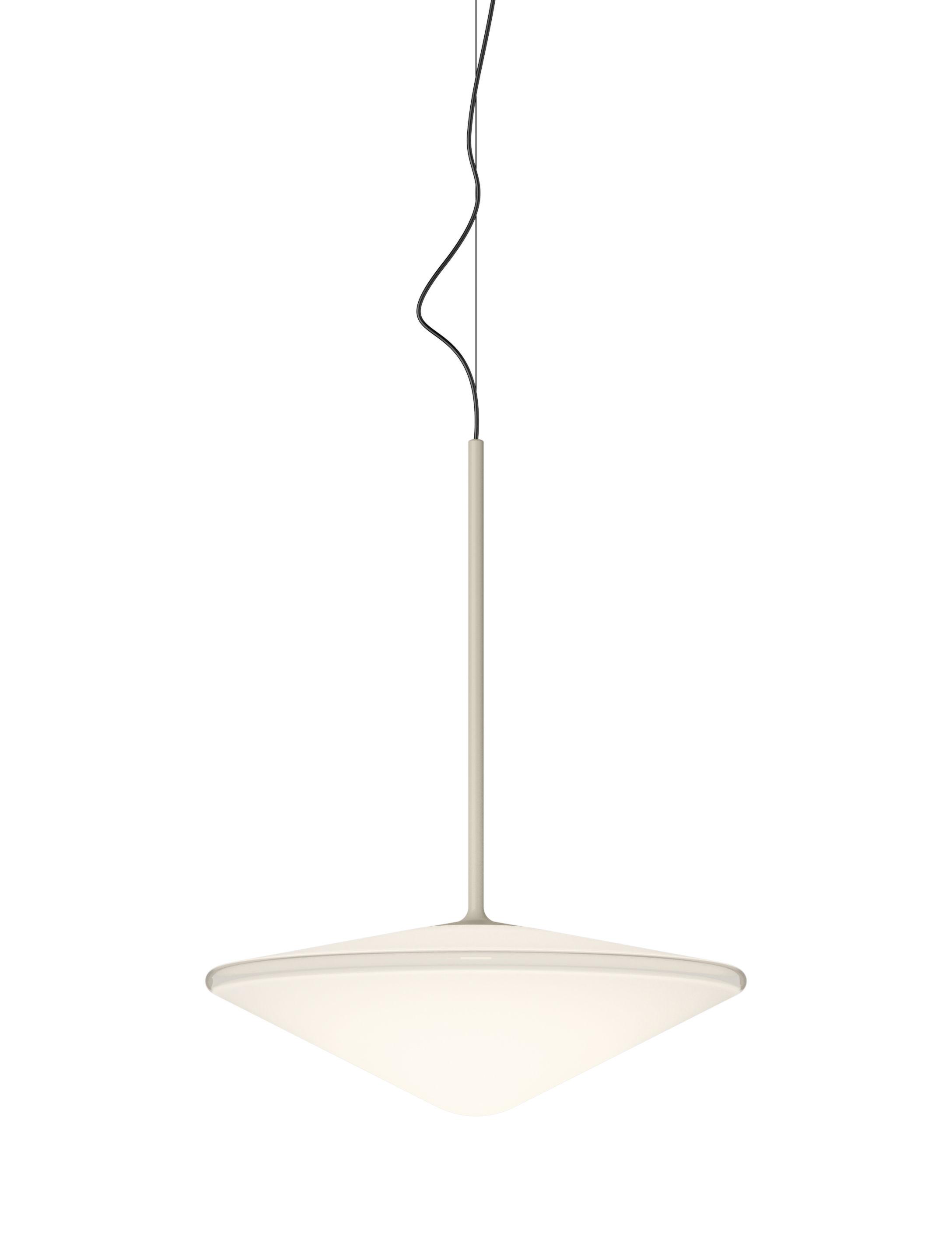 Leuchten - Pendelleuchten - Tempo Triangle Pendelleuchte / LED - Ø 35 cm - Vibia - Beige - geblasenes Glas, klarlackbeschichtetes Aluminium