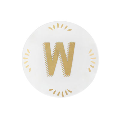 Tableware - Plates - Lettering Petit fours plates - Ø 12 cm / Letter W by Bitossi Home - Letter W / Gold - China