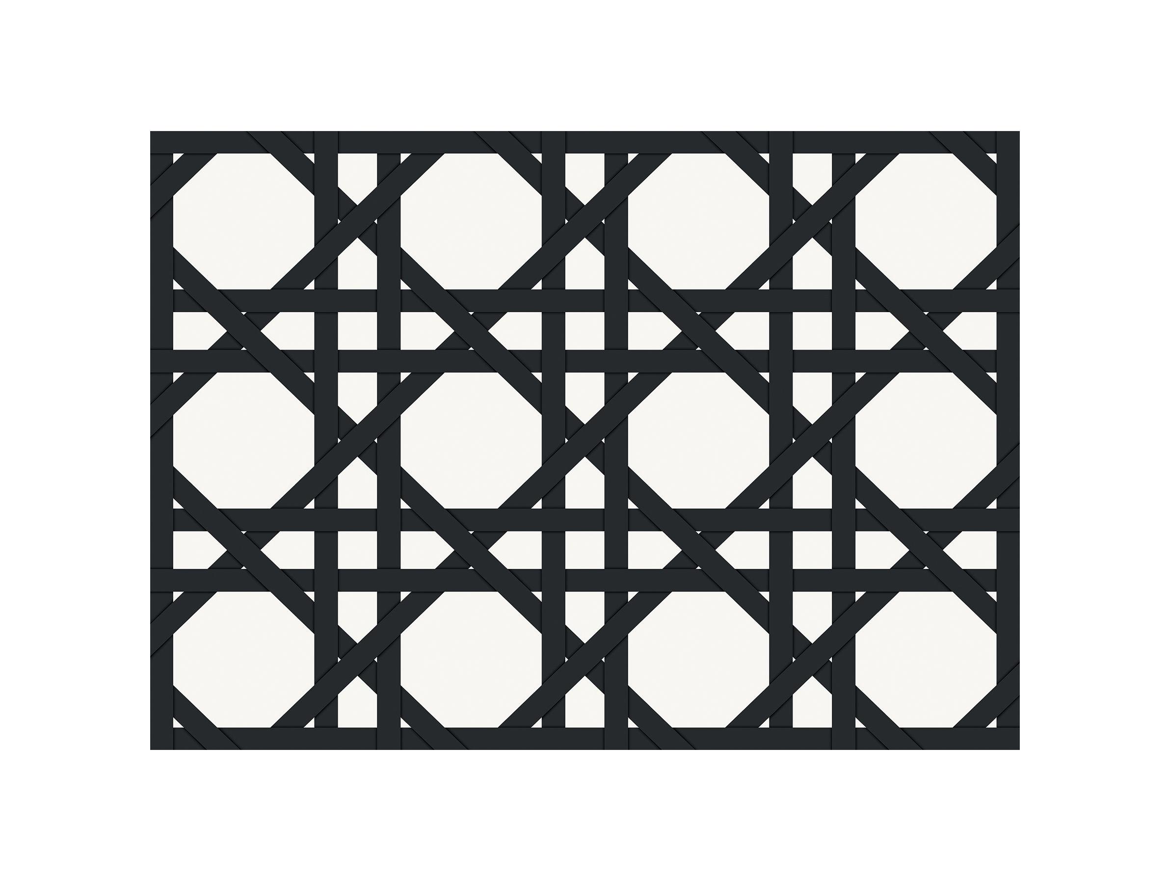 Tableware - Napkins & Tablecloths - Cannage Placemat - / 35 x 49 cm - Vinyl by PÔDEVACHE - Black - Vinal