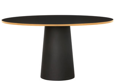 Furniture - Dining Tables - Container Round table - Ø 140 x H 74 cm by Moooi - Black / Cinnamon oak edge - HPL with linoleum finish, Polythene