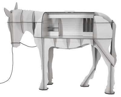 Möbel - Möbel für Kinder - Maturin Schreibtisch / LED - L 200 cm x H 156 cm - Ibride - Grau - massive Press-Spanplatte