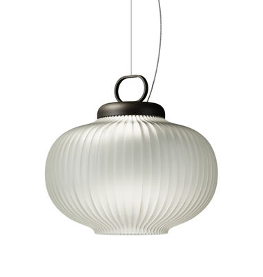 Illuminazione - Lampadari - Sospensione Kanji LED - / LED - Ø 43 x H 39 cm di Fontana Arte - Bianco / Montatura nera - metallo laccato, Vetro soffiato a bocca