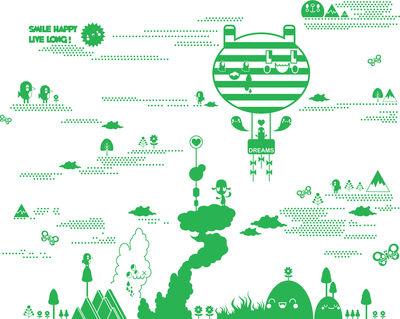 Dekoration - Stickers und Tapeten - Flora and Fauna 2 Green Sticker - Domestic - Grün - Vinyl