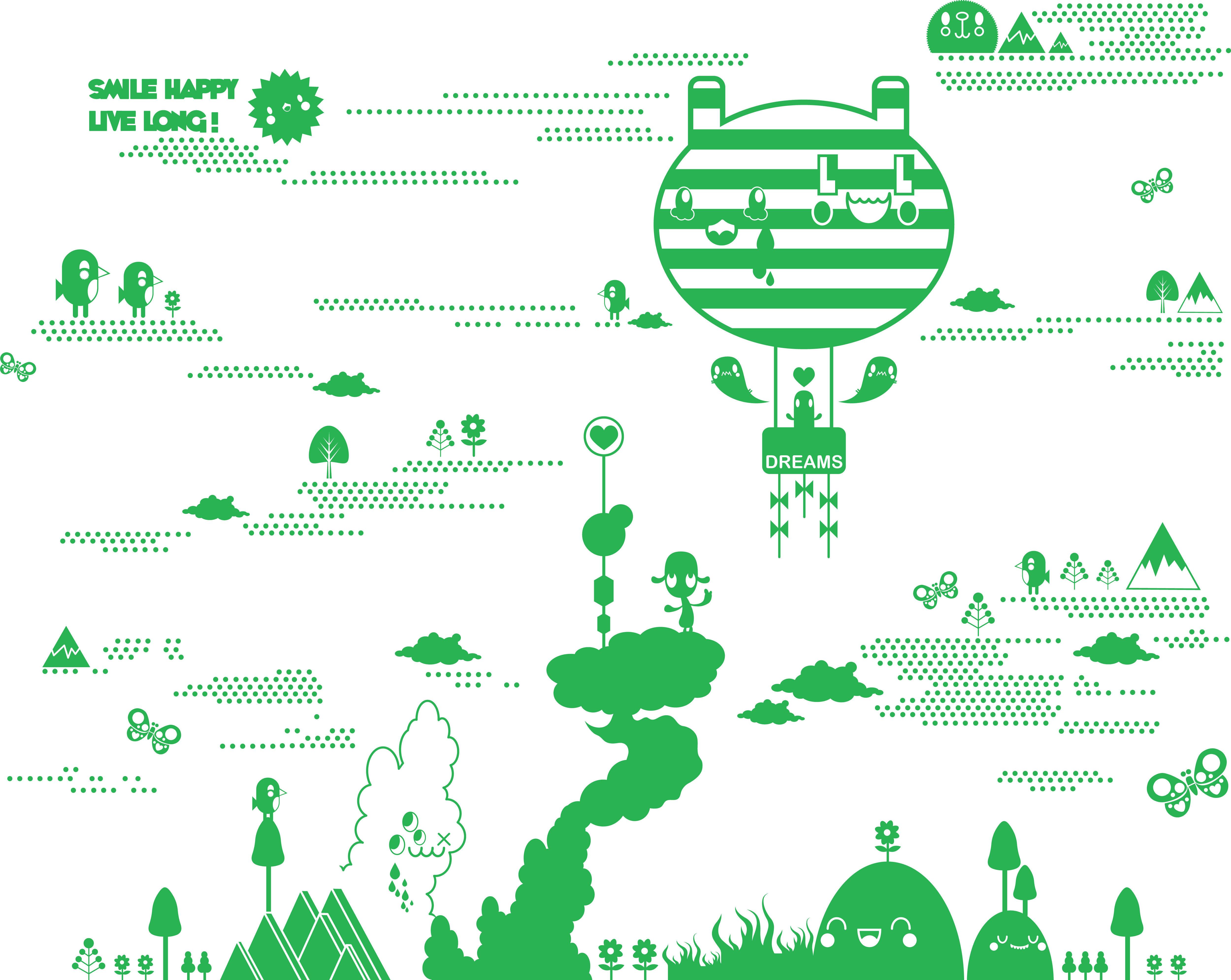 Interni - Sticker - Sticker Flora and Fauna 2 Green di Domestic - Verde - Vinile