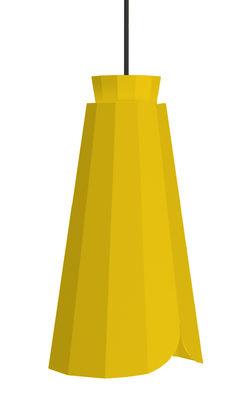 Luminaire - Suspensions - Suspension Ankara Haute / Ø 16 x H 30 cm - Matière Grise - Jaune / Câble gris - Acier laqué