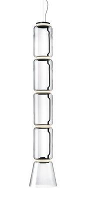 Suspension Noctambule Cône n°4 / LED - Ø 36 x H 217 cm - Flos noir,transparent en verre