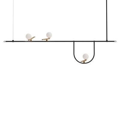 Luminaire - Suspensions - Suspension Yanzi SC1 / LED - L 156 x H 61 cm - Artemide - H 61 cm (max) / Noir & blanc - Acier laqué, Laiton, Verre soufflé