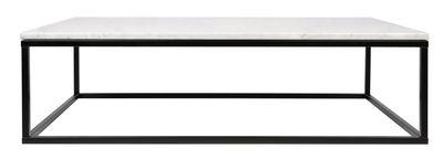 Arredamento - Tavolini  - Tavolino basso Prairie / Marmo - 120 x 75cm - POP UP HOME - Marmo bianco / Piede nero - Acciaio laccato, Marmo