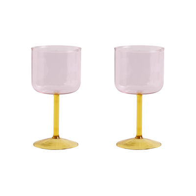 Tableware - Wine Glasses & Glassware - Tint Wine glass - / Set of 2 by Hay - Pink / Yellow - Borosilicated glass