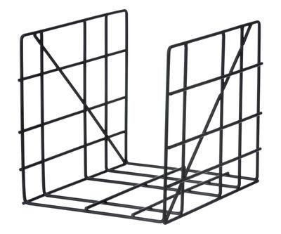 Dekoration - Körbe und Ablagen - Square Zeitungsständer / 31 x 25 cm - Ferm Living - Schwarz - Metall