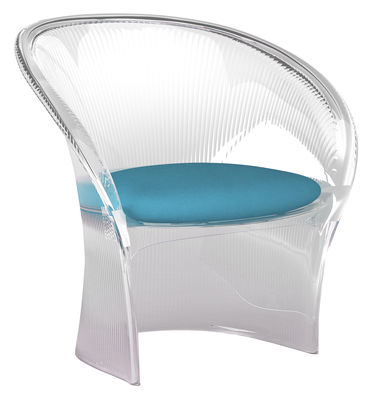 Furniture - Exceptional furniture - Flower Armchair - Crystal structure / tissue cushion by Magis - Clear / Blue - Fabric, Polycarbonate