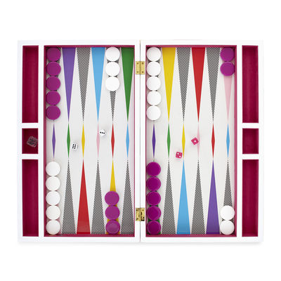 Accessories - Games and leisure - Rainbow Backgammon set - / Lacquered box by Jonathan Adler - Rainbow / Multicoloured - Lacquered wood, Velvet