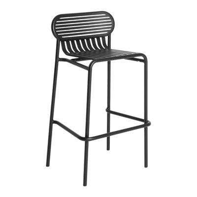 Furniture - Bar Stools - Week-End Bar stool - / Aluminium - H 80 cm by Petite Friture - Black - Powder coated epoxy aluminium