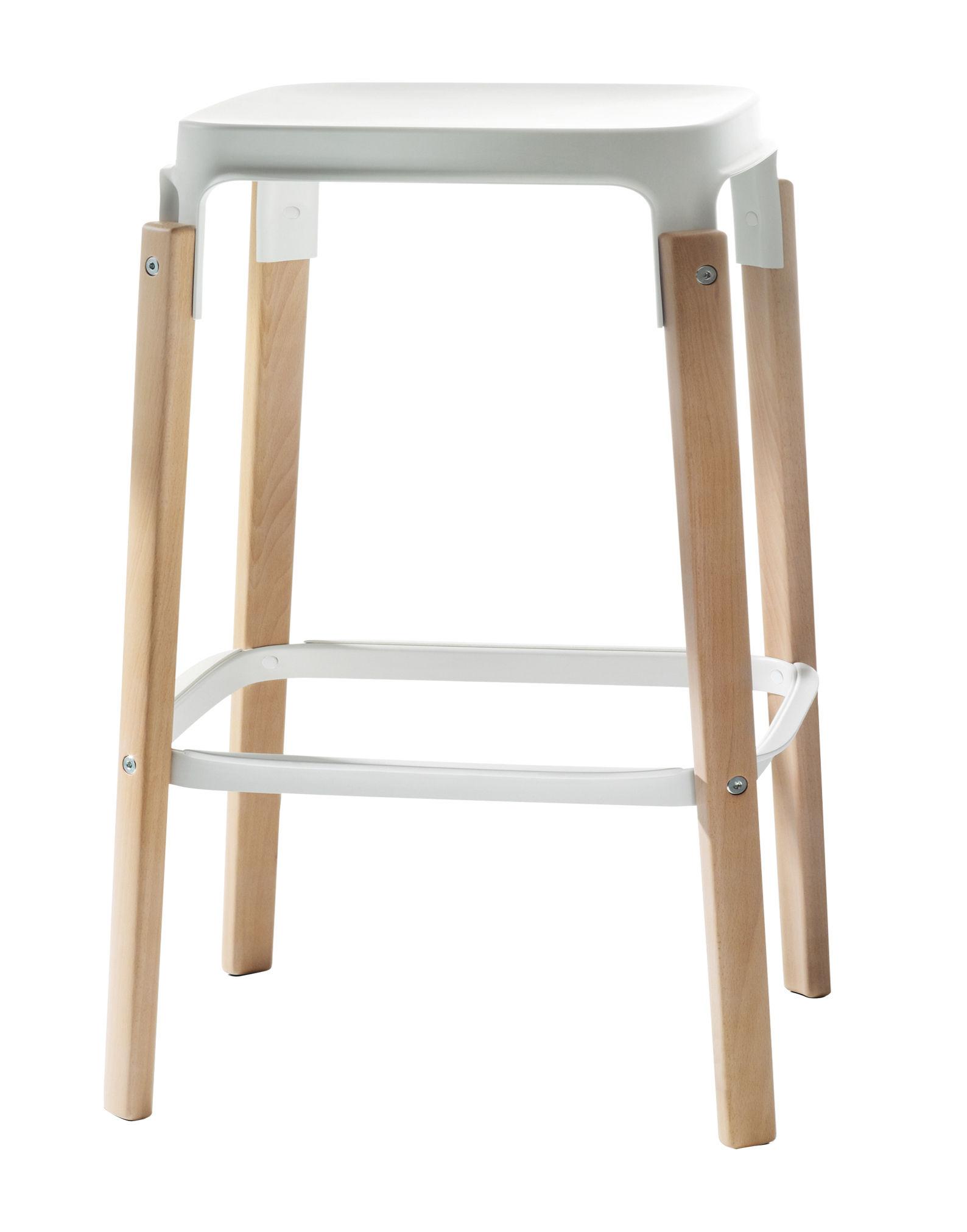 Möbel - Barhocker - Steelwood Barhocker Zweifarbig Variante - H 68 cm - Magis - Weiß / Buche - Buchenfurnier, gefirnister Stahl