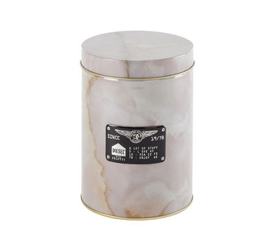 Kitchenware - Kitchen Storage Jars - Alumarble Round Box - / Marble effect metal by Diesel living with Seletti - Round / Light pink - Metal