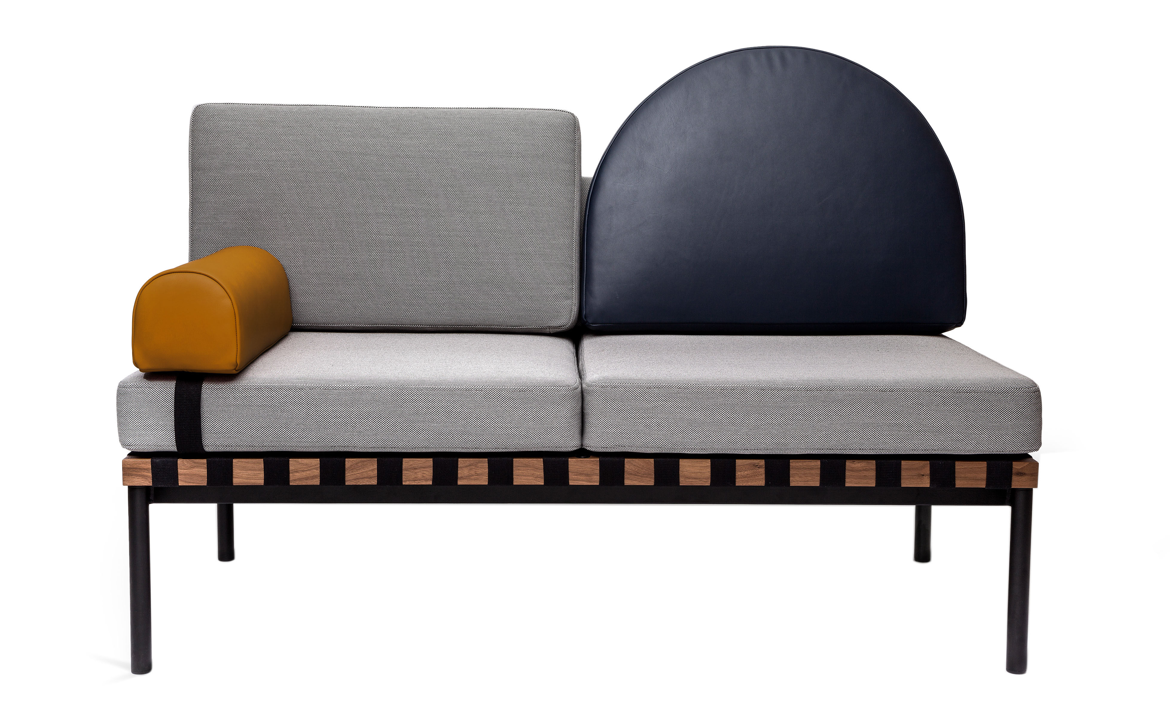 canap 2 places grid modulable l 187 cm gris bleu. Black Bedroom Furniture Sets. Home Design Ideas
