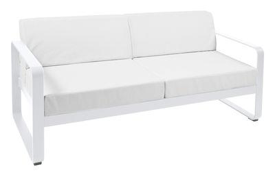Mobilier - Canapés - Canapé droit Bellevie 2 places / L 160 cm - Tissu blanc grisé - Fermob - Blanc coton / Tissu blanc grisé - Aluminium laqué, Mousse, Tissu acrylique