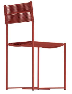 Chaise Spaghetti Design de 1979 Exposée au MoMA Alias rouge corail en métal