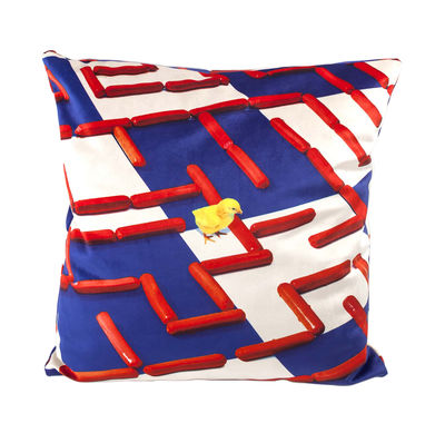 Decoration - Cushions & Poufs - Toiletpaper Cushion - / Labyrinth - 50 x 50 cm by Seletti - Labyrinth / Multicoloured - Feathers, Polyester fabric