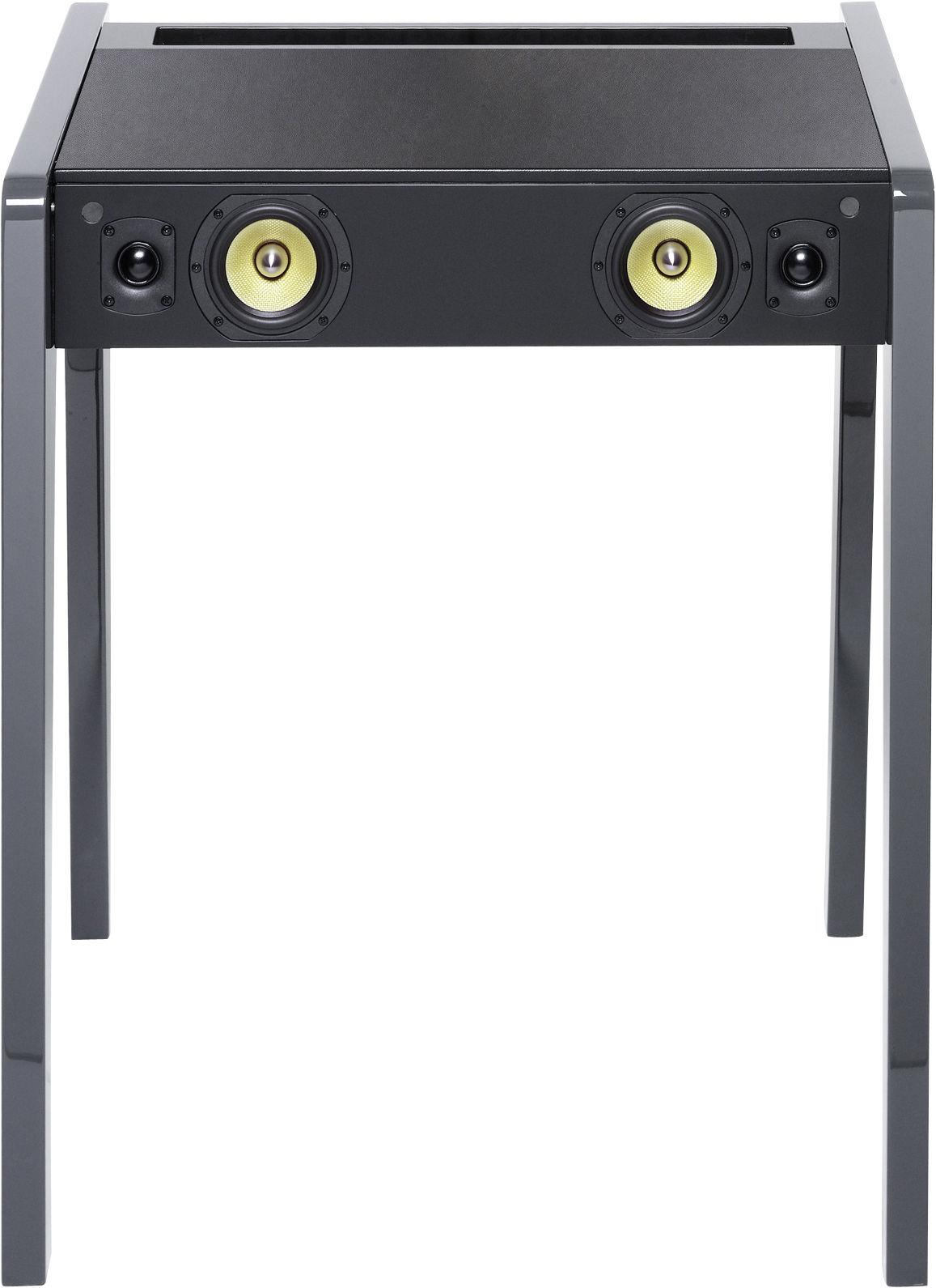 Arredamento - Console - Cassa stereo Blueooth LD 130 / Per computer portatile, iPod e iPhone - L 69 cm - La Boîte Concept - Grigio chiaro - MDF, Pelle