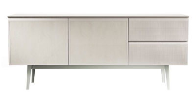 Furniture - Dressers & Storage Units - Voltaire Dresser - L 180 cm by Diesel with Moroso - White / Turtledove top / Leather doors - Lacquered MDF, Leather, Melamine wood, Perforated steel